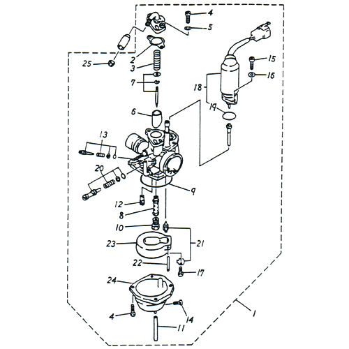 Carburetor OEM ADLY (Her Chee) SuperSonic Scooter 50cc II 2002 (