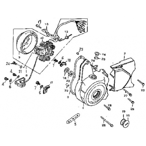 Left Crankcase Cover, Generator